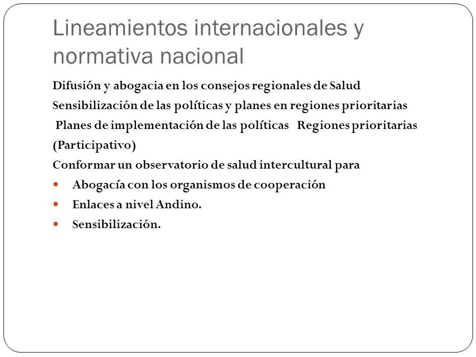 Lineamientos internacionales y normativa nacional Difusión y abogacia en los consejos regionales de Salud Sensibilización de las políticas y planes en
