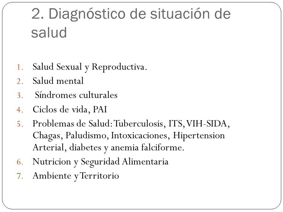 1. Salud Sexual y Reproductiva. 2. Salud mental 3. Síndromes culturales 4. Ciclos de vida, PAI 5. Problemas de Salud: Tuberculosis, ITS, VIH-SIDA, Cha