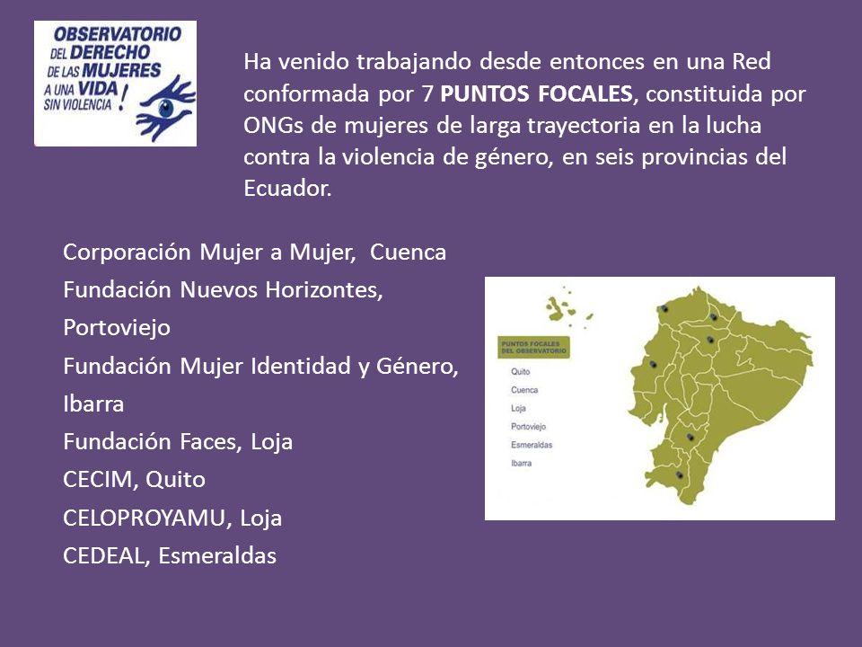 Ha venido trabajando desde entonces en una Red conformada por 7 PUNTOS FOCALES, constituida por ONGs de mujeres de larga trayectoria en la lucha contra la violencia de género, en seis provincias del Ecuador.