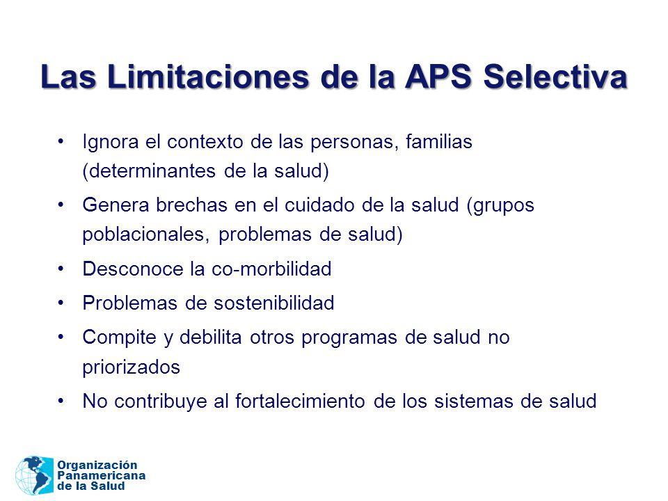 Organización Panamericana de la Salud Las Limitaciones de la APS Selectiva Ignora el contexto de las personas, familias (determinantes de la salud) Ge