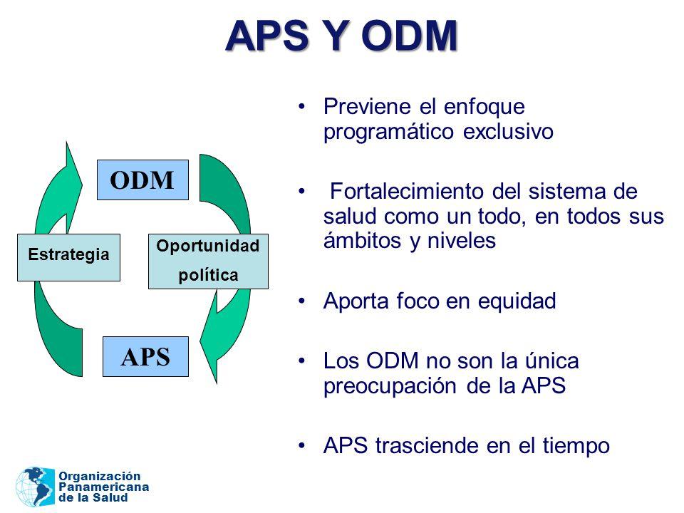Organización Panamericana de la Salud APS Y ODM Previene el enfoque programático exclusivo Fortalecimiento del sistema de salud como un todo, en todos sus ámbitos y niveles Aporta foco en equidad Los ODM no son la única preocupación de la APS APS trasciende en el tiempo ODM APS Estrategia Oportunidad política