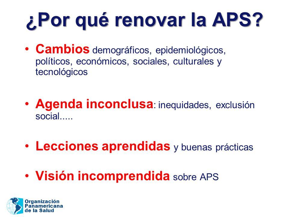 Organización Panamericana de la Salud ¿Por qué renovar la APS? Cambios demográficos, epidemiológicos, políticos, económicos, sociales, culturales y te