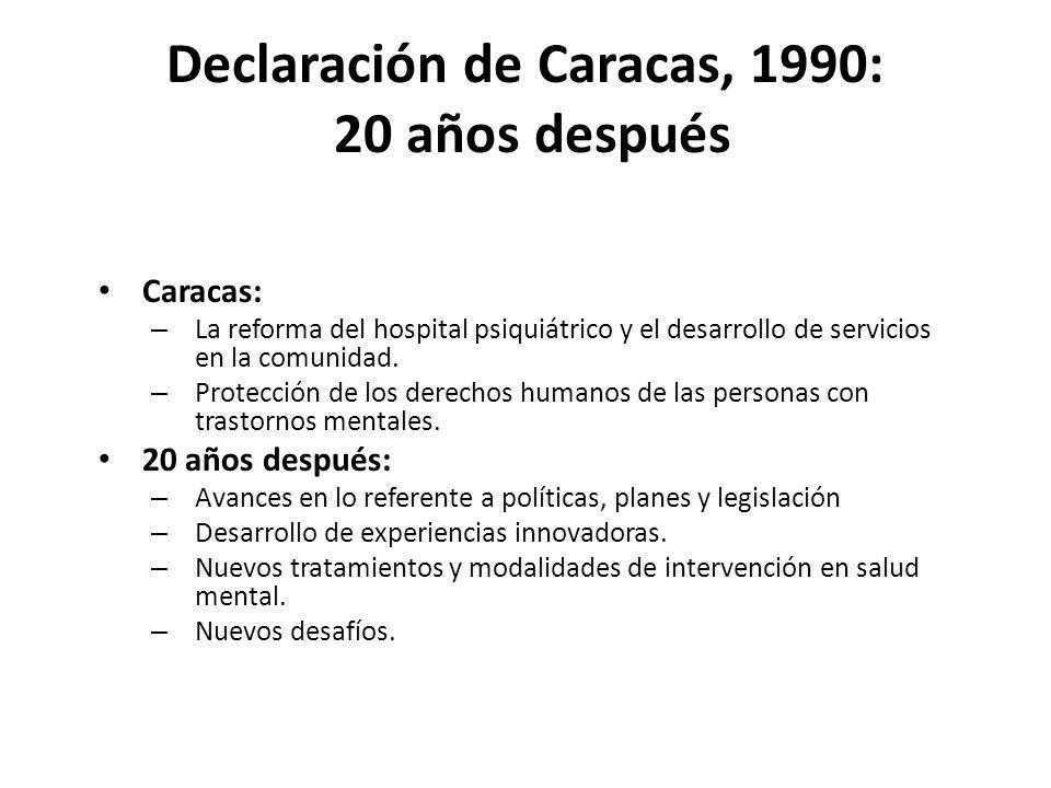 Declaración de Caracas, 1990: 20 años después Caracas: – La reforma del hospital psiquiátrico y el desarrollo de servicios en la comunidad.