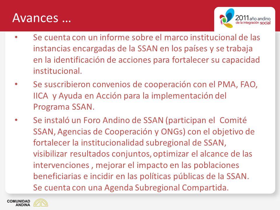 Avances … Se cuenta con un informe sobre el marco institucional de las instancias encargadas de la SSAN en los países y se trabaja en la identificació