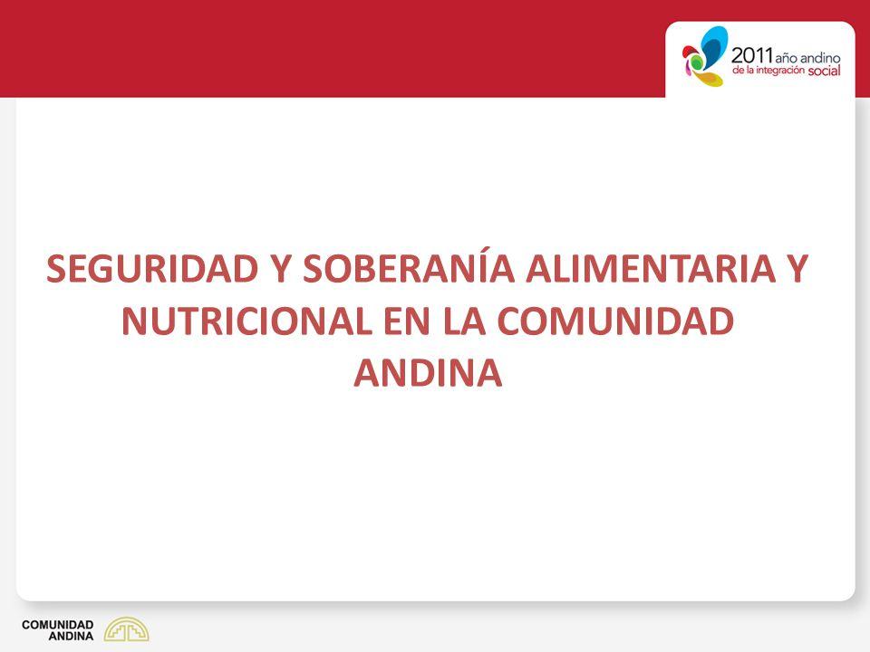 Comunidad Andina: Subnutrición 1990-921995-972000-022005-07 Bolivia2,01,9 2,5 Colombia5,24,03,94,3 Ecuador2,41,82,12,0 Per ú 6,15,04,74,3 CAN15,712,712,613,1 Fuente: El estado de la seguridad alimentaria y nutricional.