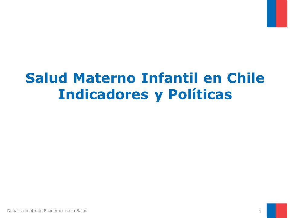 Departamento de Economía de la Salud PARTOS Cobertura de partos realizados por profesionales es cercano al 100%.