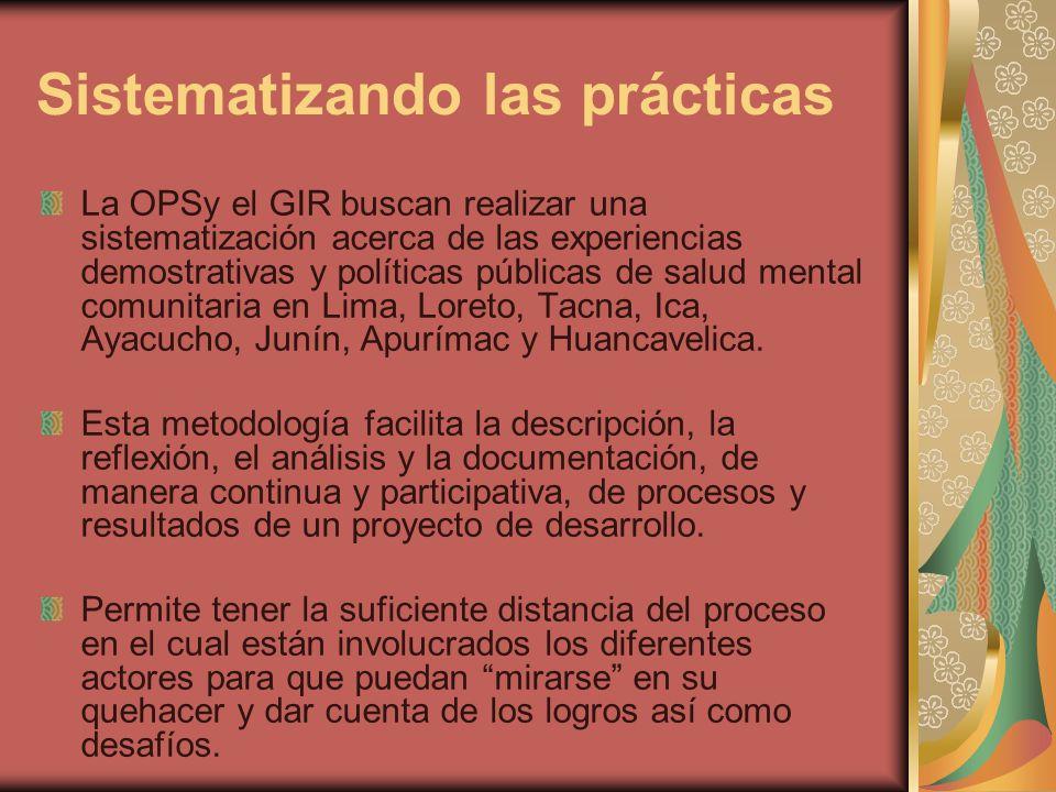 Sistematizando las prácticas La OPSy el GIR buscan realizar una sistematización acerca de las experiencias demostrativas y políticas públicas de salud