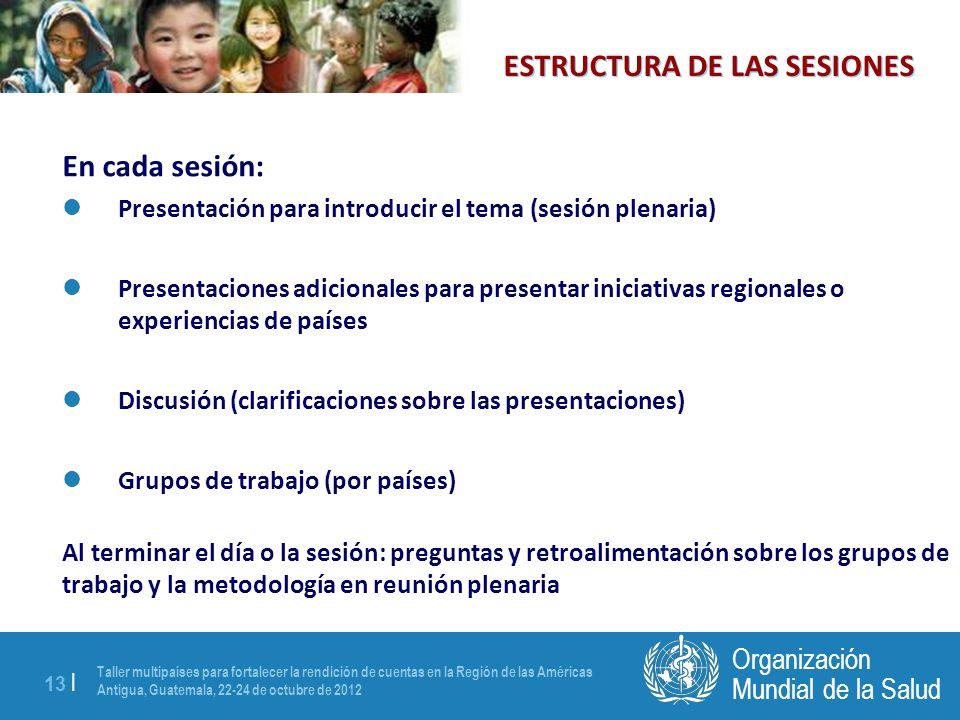 Taller multipaíses para fortalecer la rendición de cuentas en la Región de las Américas Antigua, Guatemala, 22-24 de octubre de 2012 13 | Mundial de l