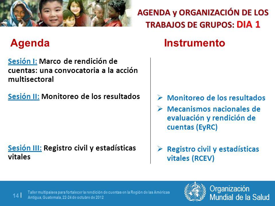 Taller multipaíses para fortalecer la rendición de cuentas en la Región de las Américas Antigua, Guatemala, 22-24 de octubre de 2012 14 | Mundial de la Salud Organización AGENDA y ORGANIZACIÓN DE LOS TRABAJOS DE GRUPOS: DIA 1 Sesión I: Marco de rendición de cuentas: una convocatoria a la acción multisectoral Sesión II: Monitoreo de los resultados Sesión III: Registro civil y estadísticas vitales Monitoreo de los resultados Mecanismos nacionales de evaluación y rendición de cuentas (EyRC) Registro civil y estadísticas vitales (RCEV) AgendaInstrumento