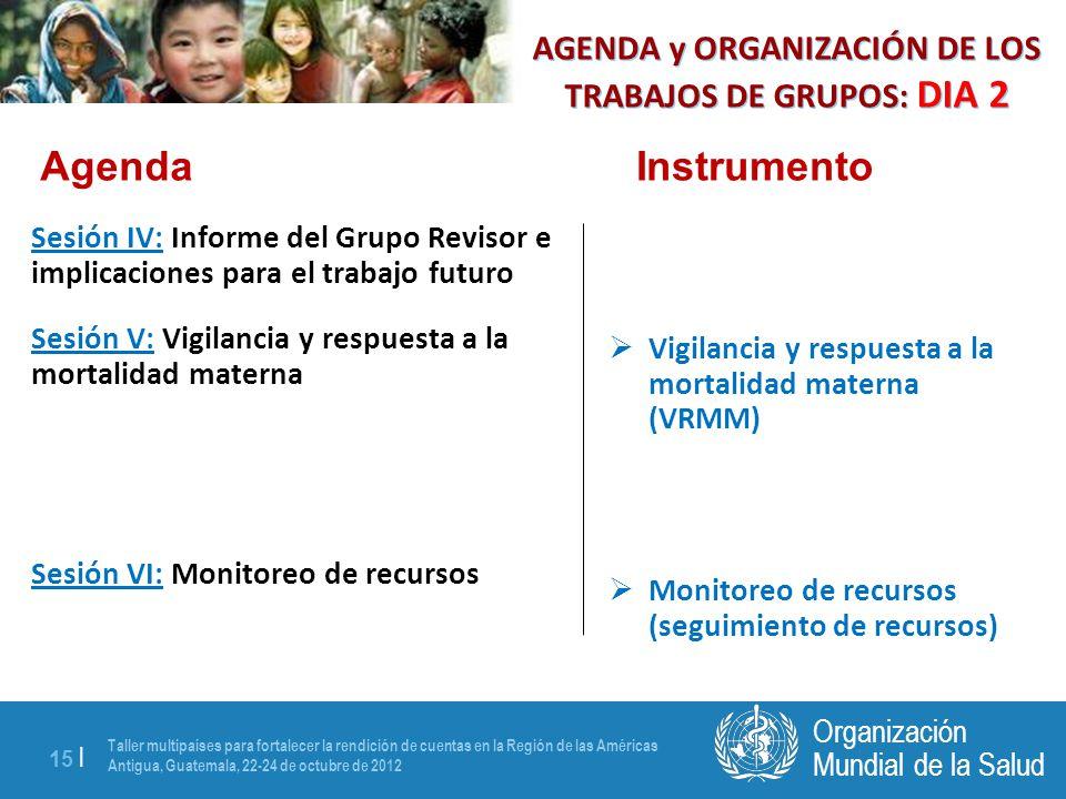 Taller multipaíses para fortalecer la rendición de cuentas en la Región de las Américas Antigua, Guatemala, 22-24 de octubre de 2012 15 | Mundial de la Salud Organización Sesión IV: Informe del Grupo Revisor e implicaciones para el trabajo futuro Sesión V: Vigilancia y respuesta a la mortalidad materna Sesión VI: Monitoreo de recursos Vigilancia y respuesta a la mortalidad materna (VRMM) Monitoreo de recursos (seguimiento de recursos) AgendaInstrumento AGENDA y ORGANIZACIÓN DE LOS TRABAJOS DE GRUPOS: DIA 2