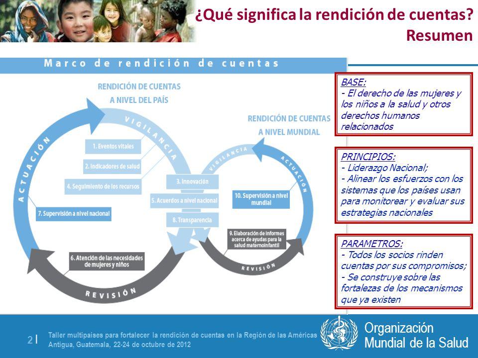 Taller multipaíses para fortalecer la rendición de cuentas en la Región de las Américas Antigua, Guatemala, 22-24 de octubre de 2012 2 |2 | Mundial de la Salud Organización BASE: - El derecho de las mujeres y los niños a la salud y otros derechos humanos relacionados PRINCIPIOS: - Liderazgo Nacional; - Alinear los esfuerzos con los sistemas que los países usan para monitorear y evaluar sus estrategias nacionales PARAMETROS: - Todos los socios rinden cuentas por sus compromisos; - Se construye sobre las fortalezas de los mecanismos que ya existen ¿Qué significa la rendición de cuentas.