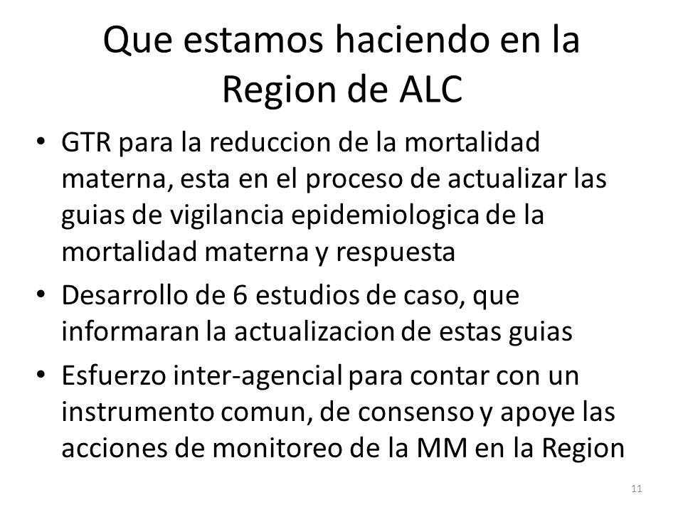 Que estamos haciendo en la Region de ALC GTR para la reduccion de la mortalidad materna, esta en el proceso de actualizar las guias de vigilancia epid