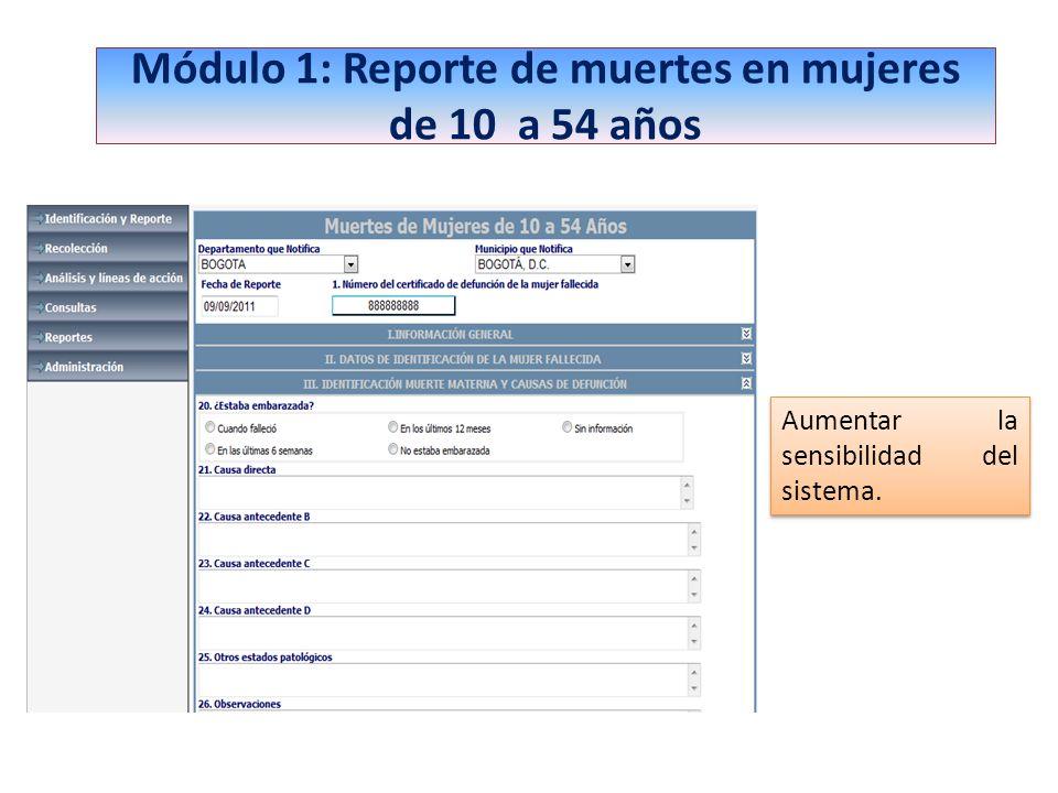 Módulo 1: Reporte de muertes en mujeres de 10 a 54 años Aumentar la sensibilidad del sistema.