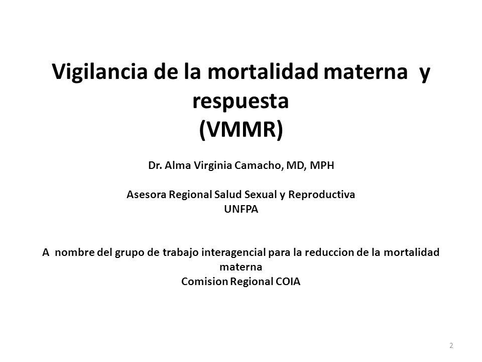 Vigilancia de la mortalidad materna y respuesta (VMMR) Dr. Alma Virginia Camacho, MD, MPH Asesora Regional Salud Sexual y Reproductiva UNFPA A nombre