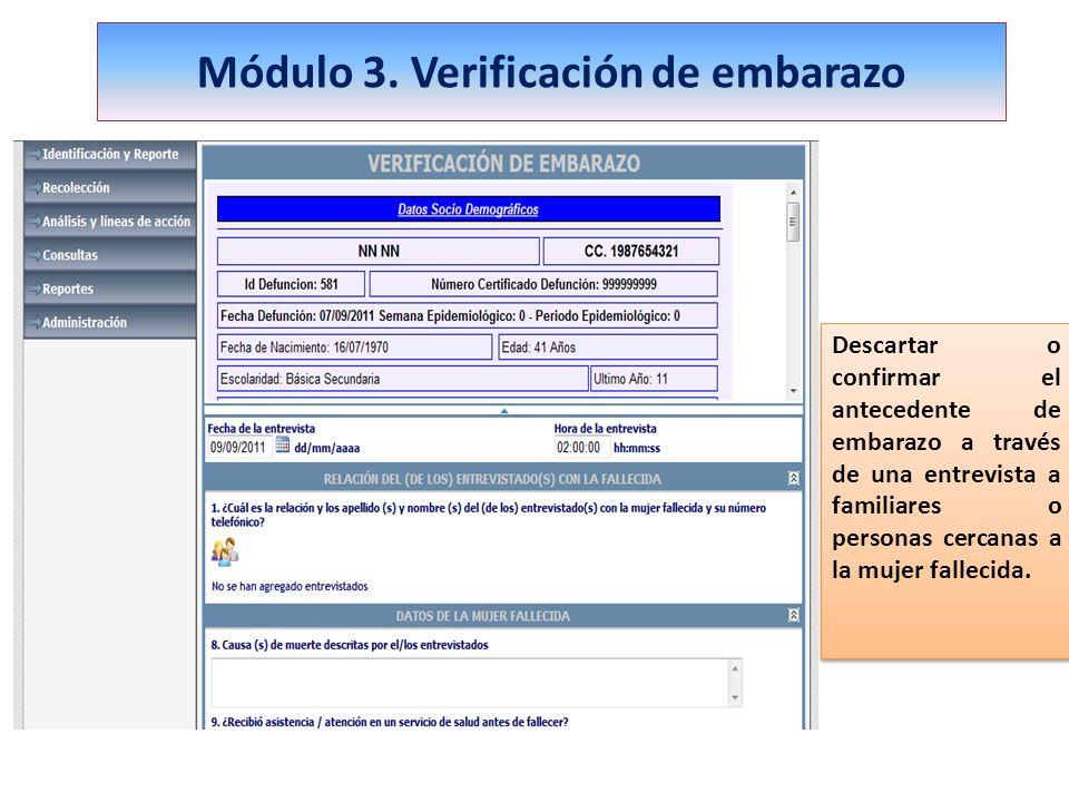 Módulo 3. Verificación de embarazo Descartar o confirmar el antecedente de embarazo a través de una entrevista a familiares o personas cercanas a la m