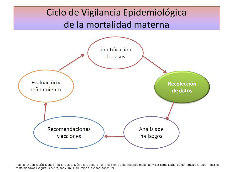 Ciclo de Vigilancia Epidemiológica de la mortalidad materna Fuente: Organización Mundial de la Salud. Más allá de las cifras. Revisión de las muertes