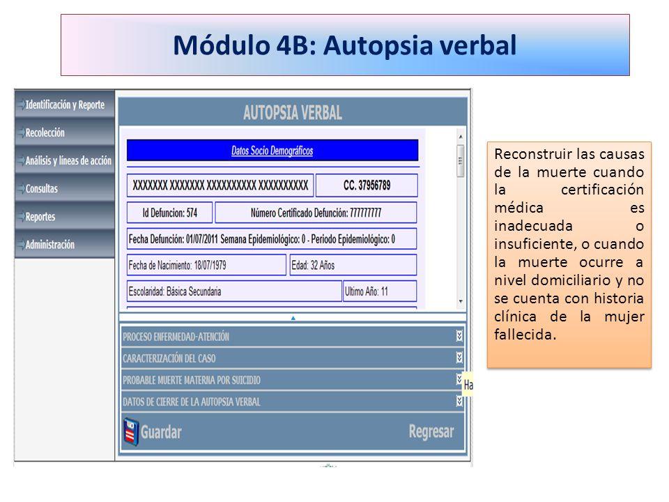 Módulo 4B: Autopsia verbal Reconstruir las causas de la muerte cuando la certificación médica es inadecuada o insuficiente, o cuando la muerte ocurre