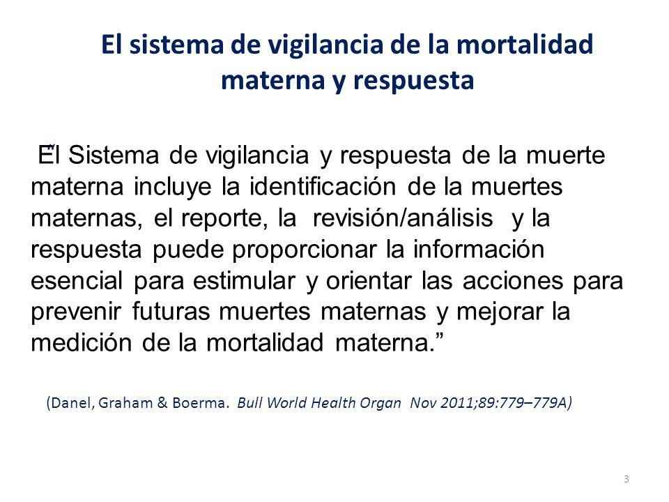 El sistema de vigilancia de la mortalidad materna y respuesta (Danel, Graham & Boerma. Bull World Health Organ Nov 2011;89:779–779A) 3 El Sistema de v