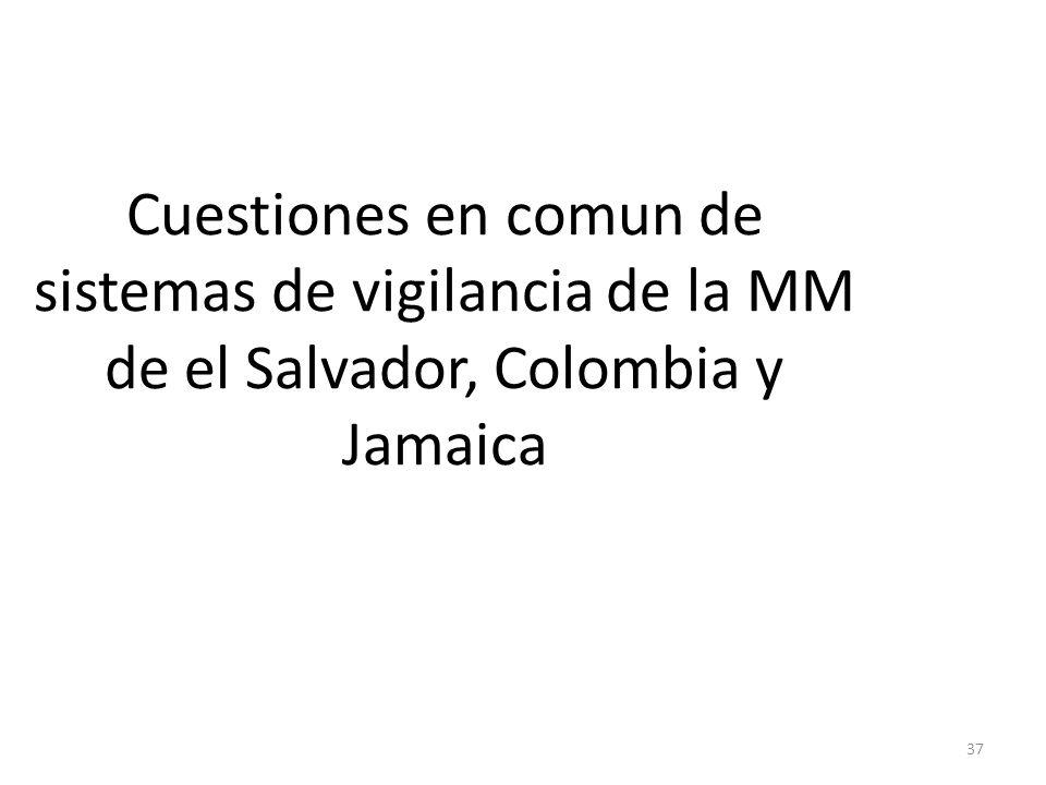 37 Cuestiones en comun de sistemas de vigilancia de la MM de el Salvador, Colombia y Jamaica