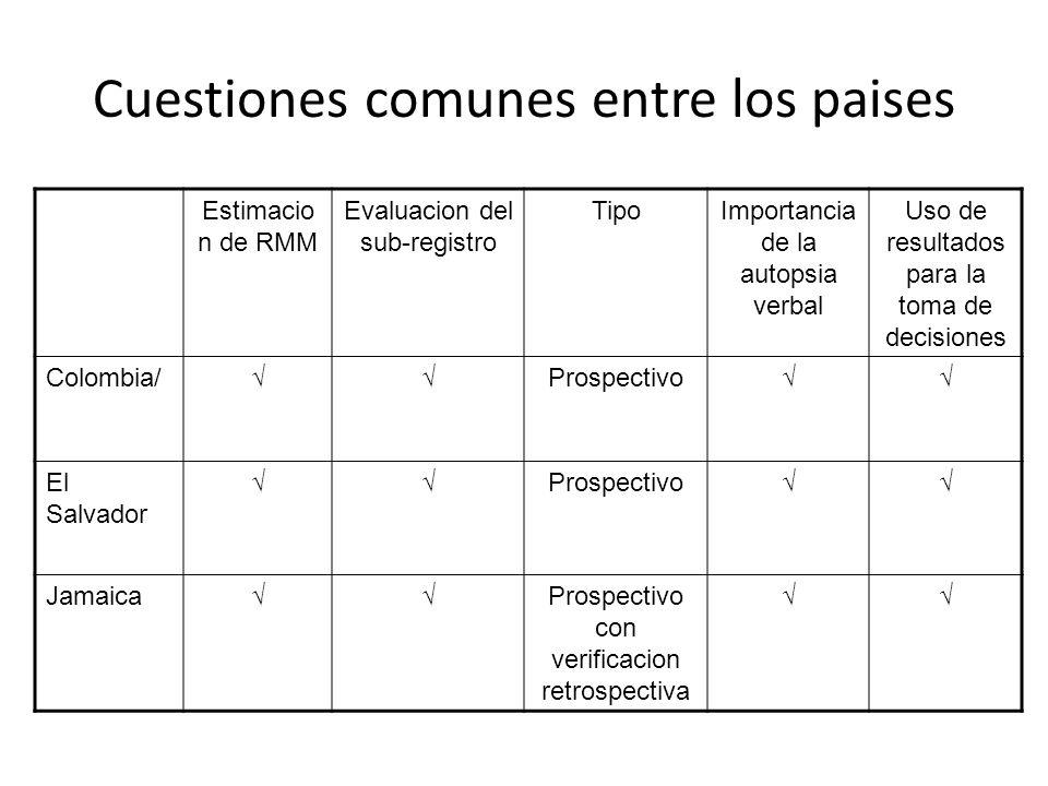 Cuestiones comunes entre los paises Estimacio n de RMM Evaluacion del sub-registro TipoImportancia de la autopsia verbal Uso de resultados para la tom