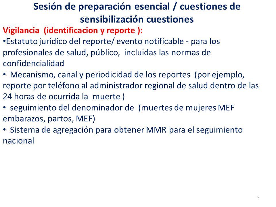 Sesión de preparación esencial / cuestiones de sensibilización cuestiones Vigilancia (identificacion y reporte ): Estatuto jurídico del reporte/ event