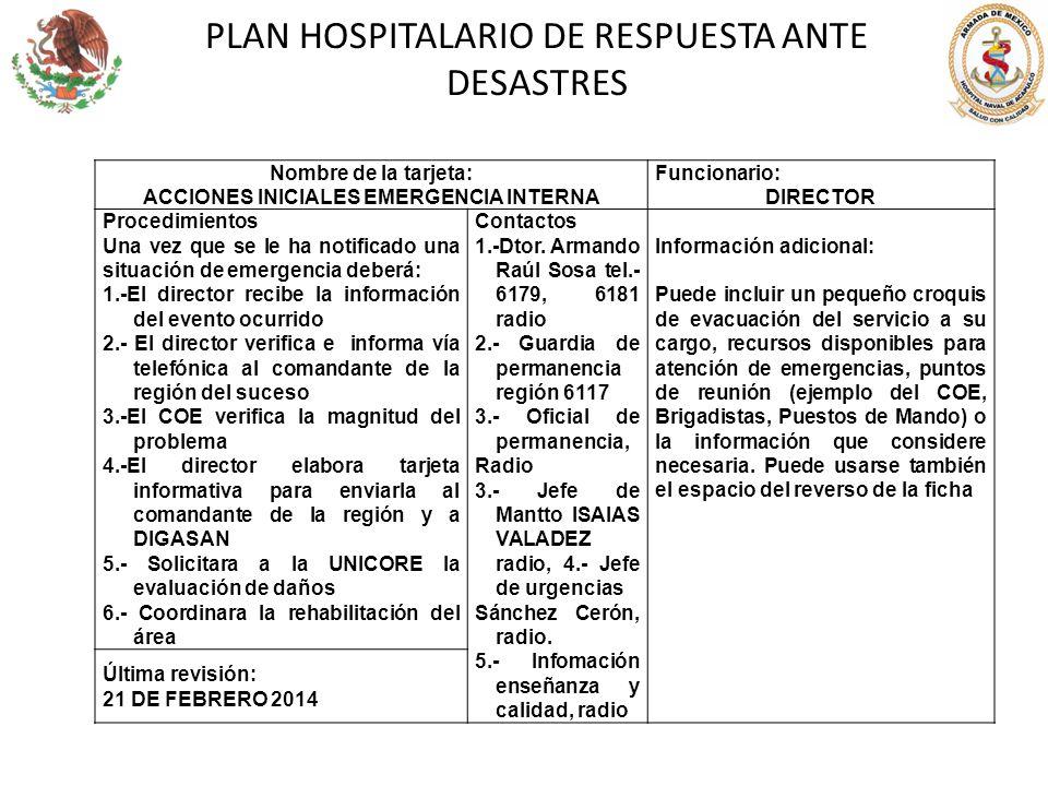 PLAN HOSPITALARIO DE RESPUESTA ANTE DESASTRES Nombre de la tarjeta: ACCIONES INICIALES EMERGENCIA INTERNA Funcionario: DIRECTOR Procedimientos Una vez