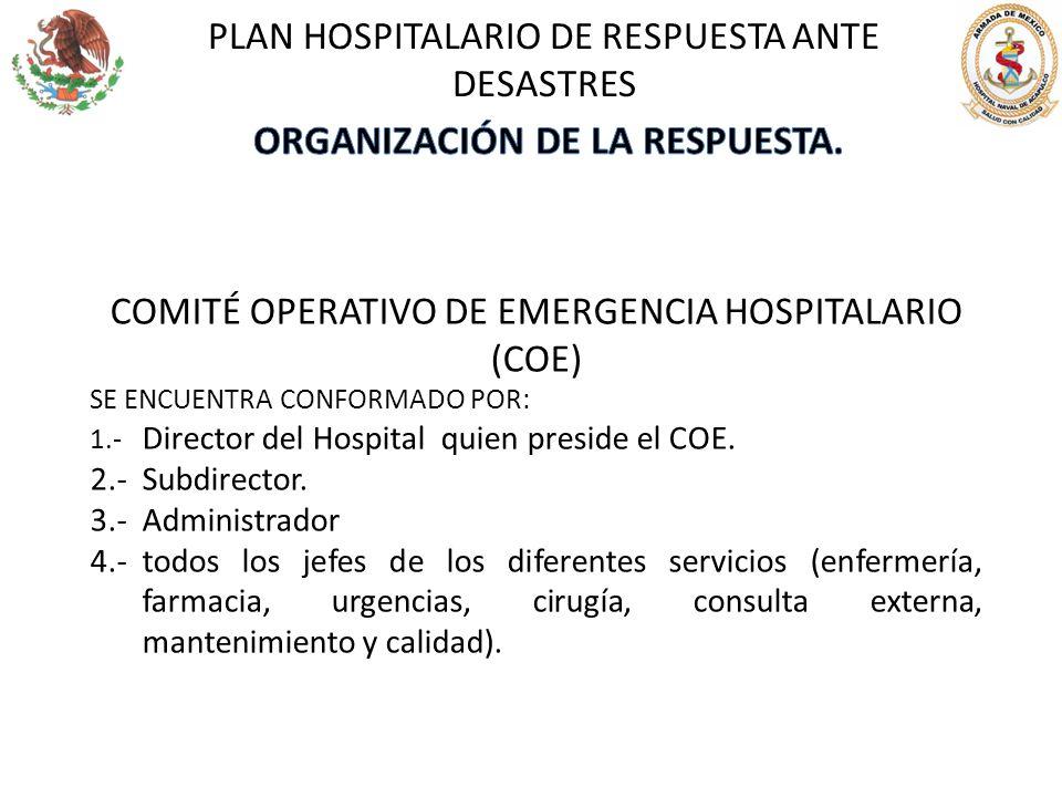 COMITÉ OPERATIVO DE EMERGENCIA HOSPITALARIO (COE) SE ENCUENTRA CONFORMADO POR: 1.- Director del Hospital quien preside el COE. 2.-Subdirector. 3.-Admi