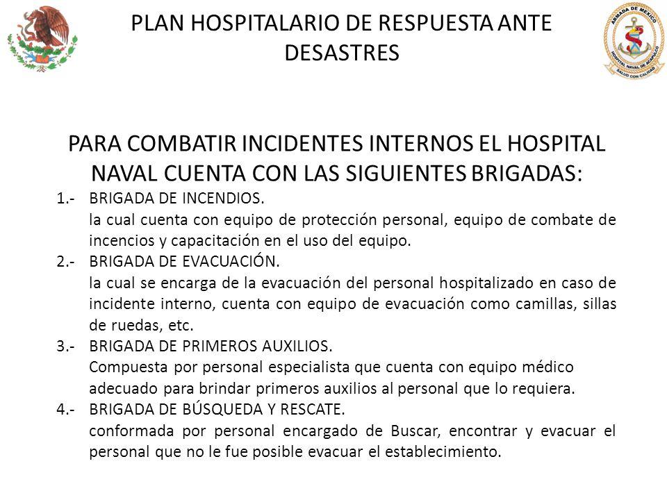 PLAN HOSPITALARIO DE RESPUESTA ANTE DESASTRES PARA COMBATIR INCIDENTES INTERNOS EL HOSPITAL NAVAL CUENTA CON LAS SIGUIENTES BRIGADAS: 1.-BRIGADA DE IN