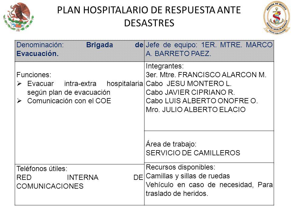 PLAN HOSPITALARIO DE RESPUESTA ANTE DESASTRES Denominación: Brigada de Evacuación. Jefe de equipo: 1ER. MTRE. MARCO A. BARRETO PAEZ. Funciones: Evacua