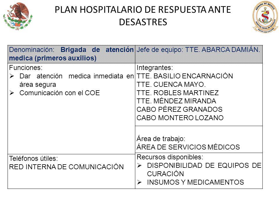 PLAN HOSPITALARIO DE RESPUESTA ANTE DESASTRES Denominación: Brigada de atención medica (primeros auxilios) Jefe de equipo: TTE. ABARCA DAMIÁN. Funcion