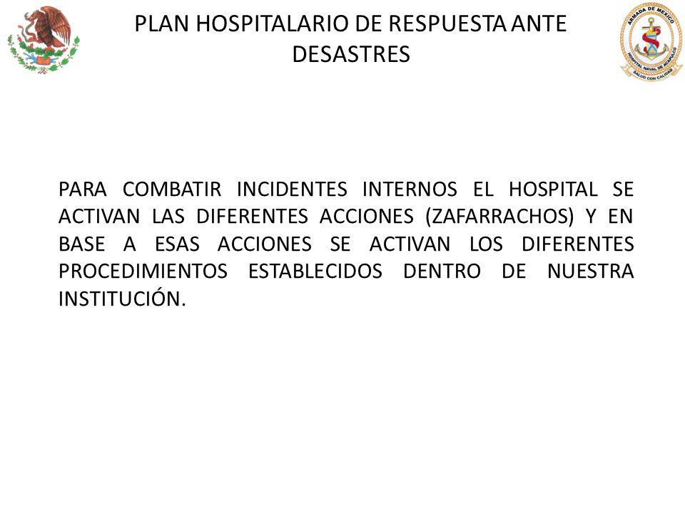 PLAN HOSPITALARIO DE RESPUESTA ANTE DESASTRES PARA COMBATIR INCIDENTES INTERNOS EL HOSPITAL SE ACTIVAN LAS DIFERENTES ACCIONES (ZAFARRACHOS) Y EN BASE