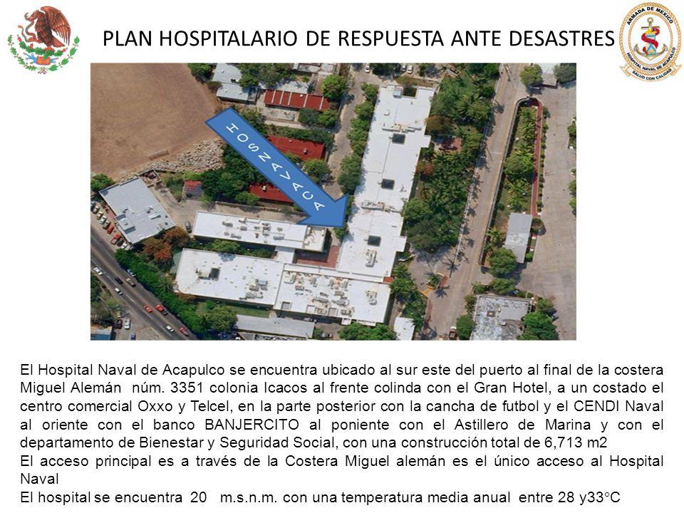 PLAN HOSPITALARIO DE RESPUESTA ANTE DESASTRES El Hospital Naval de Acapulco se encuentra ubicado al sur este del puerto al final de la costera Miguel