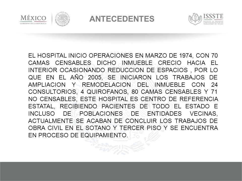 ANTECEDENTES EL HOSPITAL INICIO OPERACIONES EN MARZO DE 1974, CON 70 CAMAS CENSABLES DICHO INMUEBLE CRECIO HACIA EL INTERIOR OCASIONANDO REDUCCION DE ESPACIOS, POR LO QUE EN EL AÑO 2005, SE INICIARON LOS TRABAJOS DE AMPLIACION Y REMODELACION DEL INMUEBLE CON 24 CONSULTORIOS, 4 QUIROFANOS, 80 CAMAS CENSABLES Y 71 NO CENSABLES, ESTE HOSPITAL ES CENTRO DE REFERENCIA ESTATAL, RECIBIENDO PACIENTES DE TODO EL ESTADO E INCLUSO DE POBLACIONES DE ENTIDADES VECINAS, ACTUALMENTE SE ACABAN DE CONCLUIR LOS TRABAJOS DE OBRA CIVIL EN EL SOTANO Y TERCER PISO Y SE ENCUENTRA EN PROCESO DE EQUIPAMIENTO.
