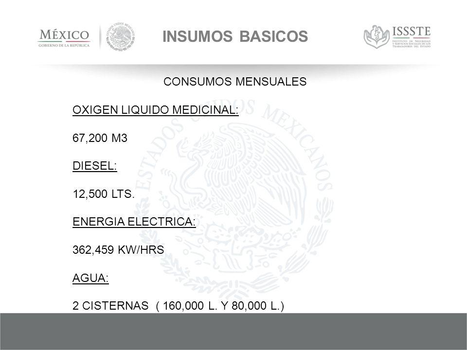 INSUMOS BASICOS CONSUMOS MENSUALES OXIGEN LIQUIDO MEDICINAL: 67,200 M3 DIESEL: 12,500 LTS.