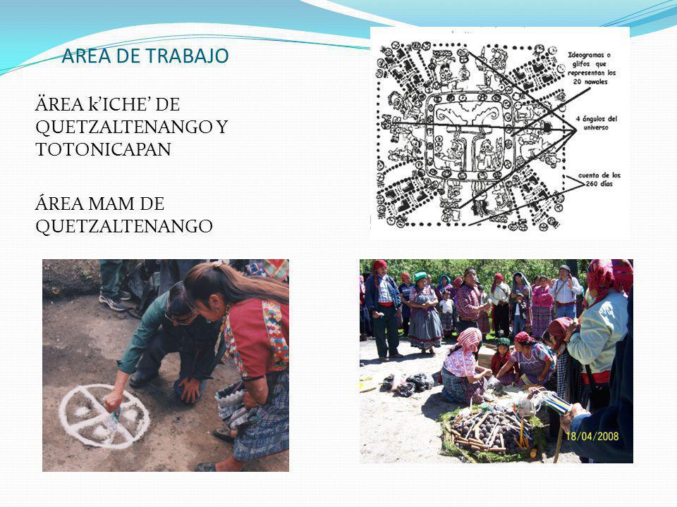 AREA DE TRABAJO ÄREA kICHE DE QUETZALTENANGO Y TOTONICAPAN ÁREA MAM DE QUETZALTENANGO