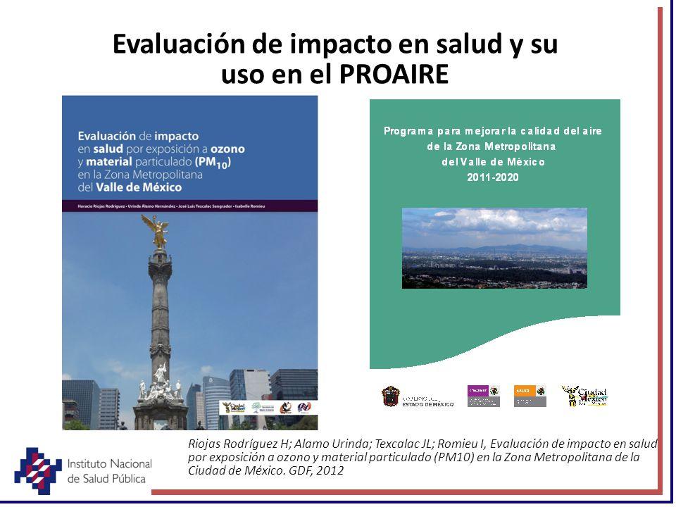 Evaluación de impacto en salud y su uso en el PROAIRE Riojas Rodríguez H; Alamo Urinda; Texcalac JL; Romieu I, Evaluación de impacto en salud por expo