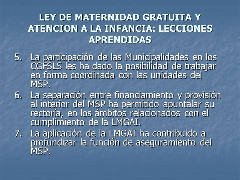 LEY DE MATERNIDAD GRATUITA Y ATENCION A LA INFANCIA: LECCIONES APRENDIDAS 5.La participación de las Municipalidades en los CGFSLS les ha dado la posibilidad de trabajar en forma coordinada con las unidades del MSP.