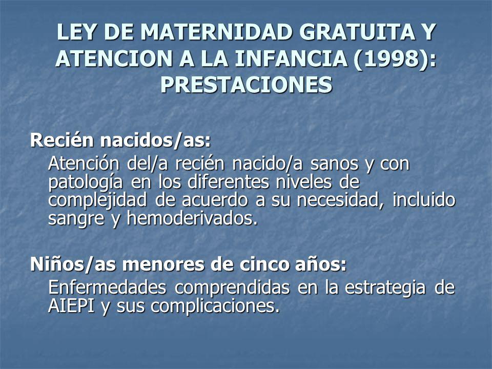 LEY DE MATERNIDAD GRATUITA Y ATENCION A LA INFANCIA (1998): PRESTACIONES Recién nacidos/as: Atención del/a recién nacido/a sanos y con patología en lo