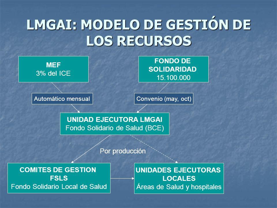 LMGAI: MODELO DE GESTIÓN DE LOS RECURSOS MEF 3% del ICE FONDO DE SOLIDARIDAD 15.100.000 UNIDAD EJECUTORA LMGAI Fondo Solidario de Salud (BCE) COMITES