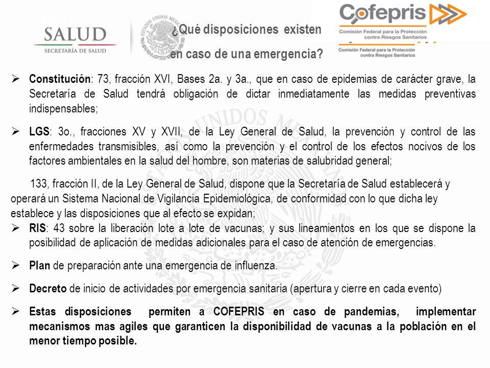 Título Constitución : 73, fracción XVI, Bases 2a. y 3a., que en caso de epidemias de carácter grave, la Secretaría de Salud tendrá obligación de dicta