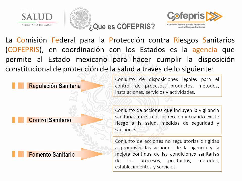 Título La Comisión Federal para la Protección contra Riesgos Sanitarios (COFEPRIS), en coordinación con los Estados es la agencia que permite al Estad
