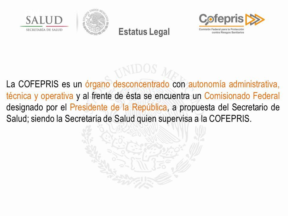 Título La COFEPRIS es un órgano desconcentrado con autonomía administrativa, técnica y operativa y al frente de ésta se encuentra un Comisionado Feder