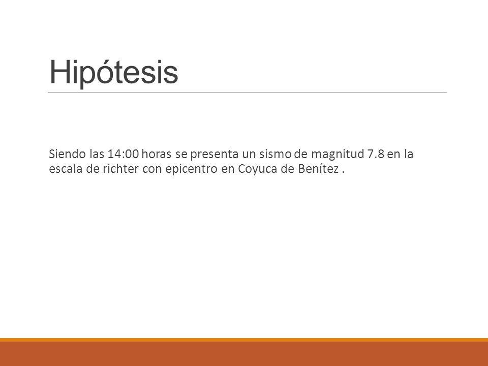Hipótesis Siendo las 14:00 horas se presenta un sismo de magnitud 7.8 en la escala de richter con epicentro en Coyuca de Benítez.