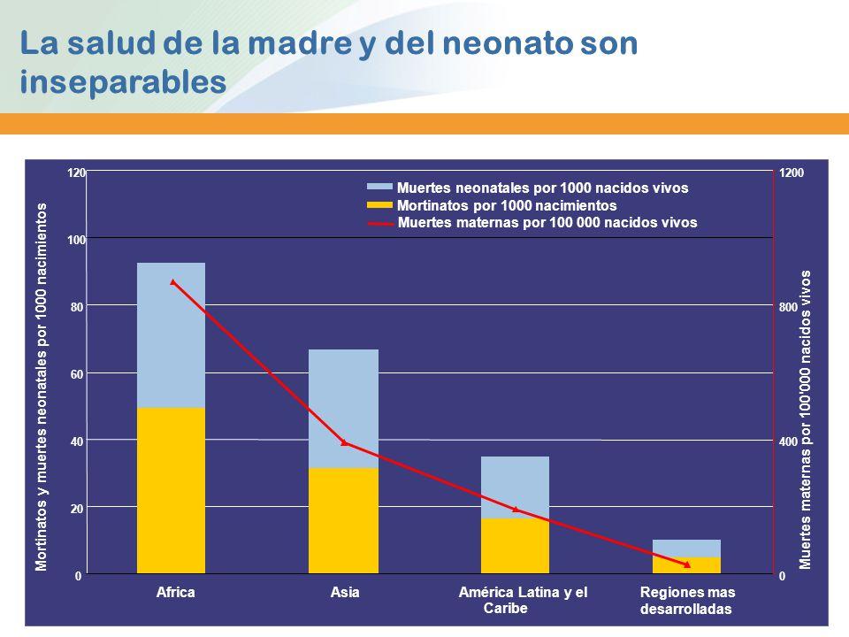 La salud de la madre y del neonato son inseparables 0 20 40 60 80 100 120 AfricaAsiaAmérica Latina y el Caribe Regiones mas desarrolladas Mortinatos y