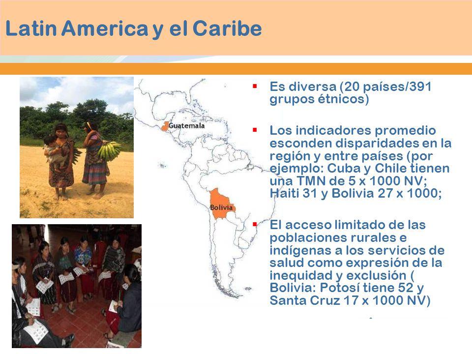 Latin America y el Caribe Es diversa (20 países/391 grupos étnicos) Los indicadores promedio esconden disparidades en la región y entre países (por ej