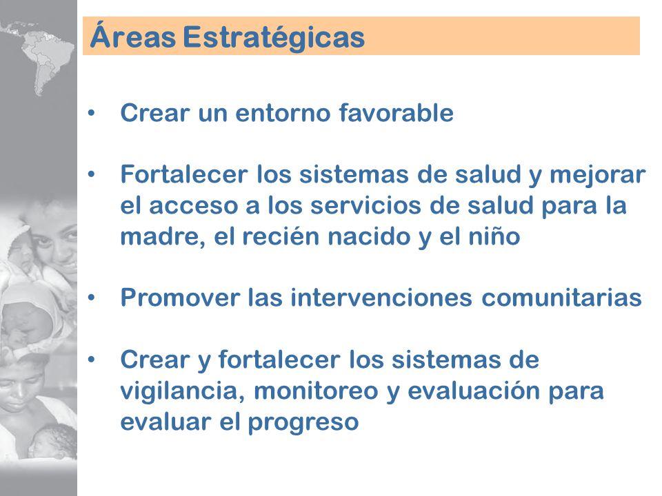 Áreas Estratégicas Crear un entorno favorable Fortalecer los sistemas de salud y mejorar el acceso a los servicios de salud para la madre, el recién n