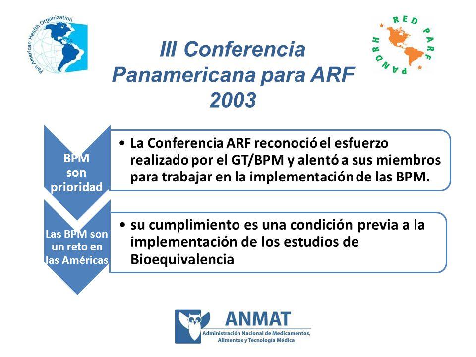 BPM son prioridad La Conferencia ARF reconoció el esfuerzo realizado por el GT/BPM y alentó a sus miembros para trabajar en la implementación de las B