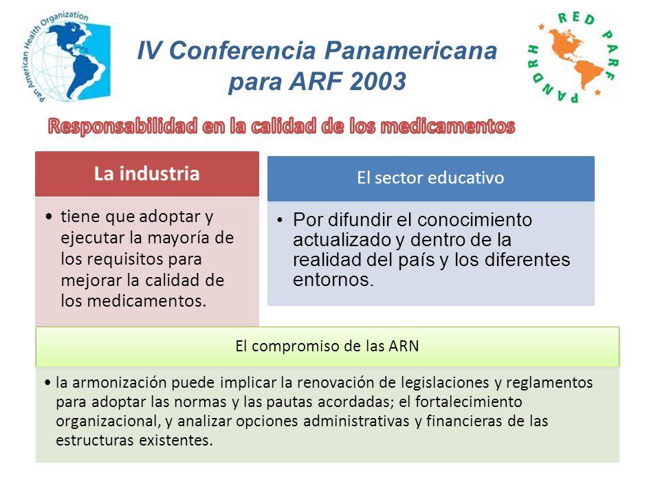 La industria tiene que adoptar y ejecutar la mayoría de los requisitos para mejorar la calidad de los medicamentos. IV Conferencia Panamericana para A