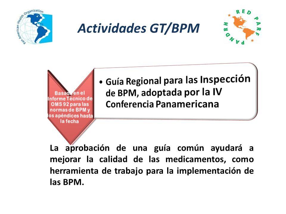 Actividades GT/BPM La aprobación de una guía común ayudará a mejorar la calidad de las medicamentos, como herramienta de trabajo para la implementació