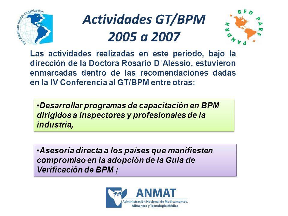 Actividades GT/BPM 2005 a 2007 Las actividades realizadas en este período, bajo la dirección de la Doctora Rosario D´Alessio, estuvieron enmarcadas de